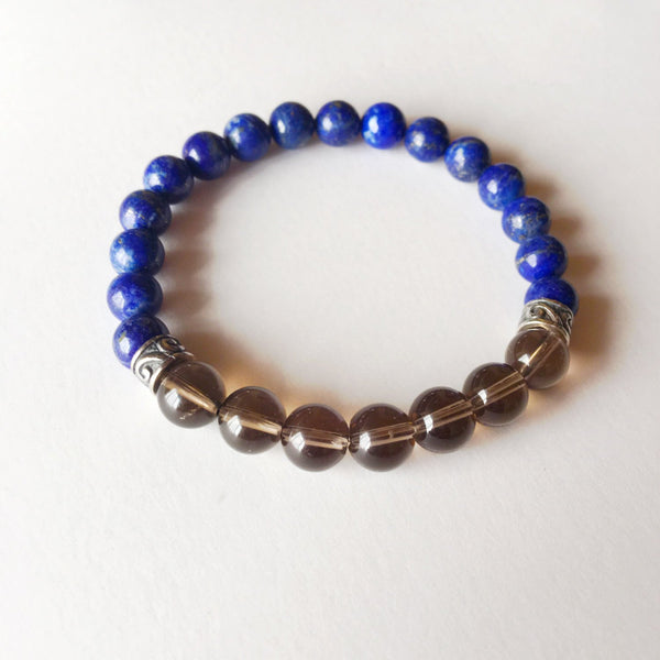Anxiety Free Bracelet ~ Genuine Smokey Quartz & Lapis Lazuli Bracelet w/ Sterling Silver Charms - A Peace of Mind Jewelry & Boutique