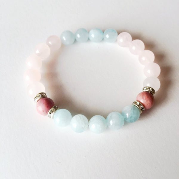 Balance ~ Genuine Aquamarine, Rose Quartz & Rhodonite w/ Sterling Silver Accents~ Serenity - A Peace of Mind Jewelry & Boutique