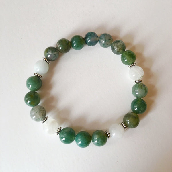 Balance & Inner Growth ~ Moss Agate & Moonstone Bracelet - A Peace of Mind Jewelry & Boutique