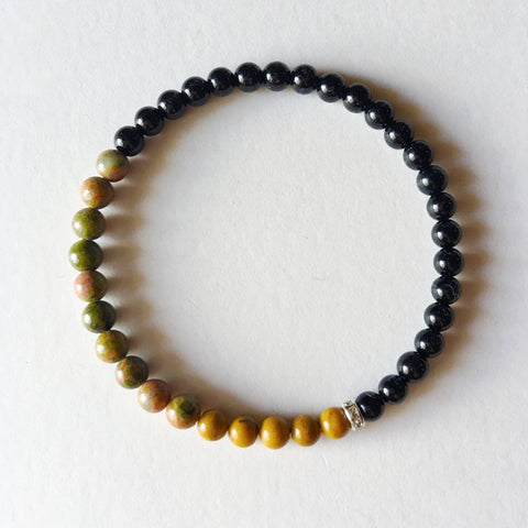 Balance, Patience & Protection Bracelet ~ Black Onyx, Yellow Jasper and Unakite ~ 4mm Stones - A Peace of Mind Jewelry & Boutique