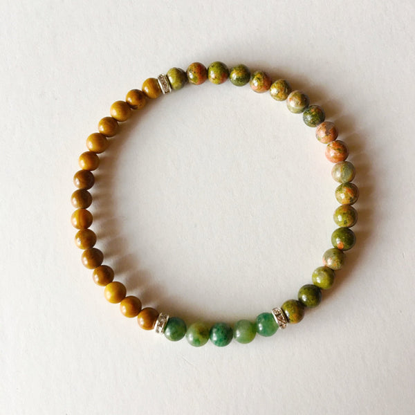 Balance, Patience & Protection Bracelet ~ African Jade, Yellow Jasper and Unakite ~ Choice of Bead Size