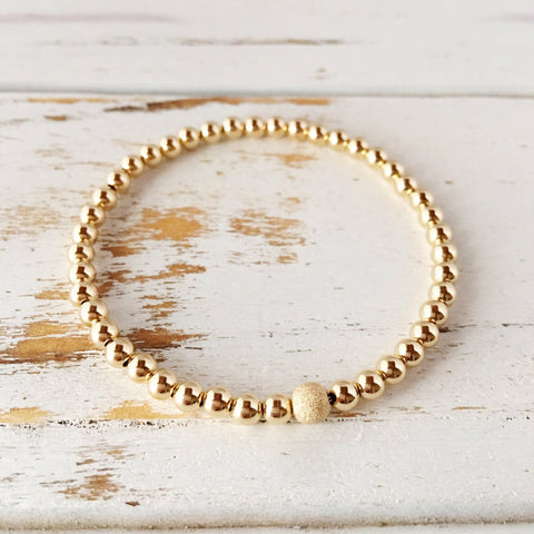 Beautiful 4mm Gold Filled Beaded Bracelet with 5mm Stardust Bead - A Peace of Mind Jewelry & Boutique