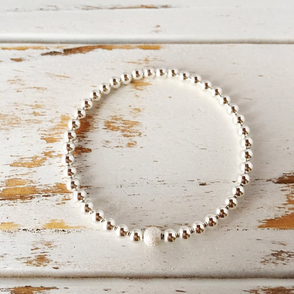 Beautiful 4mm Sterling Silver Bracelet with 5mm Stardust Bead - A Peace of Mind Jewelry & Boutique