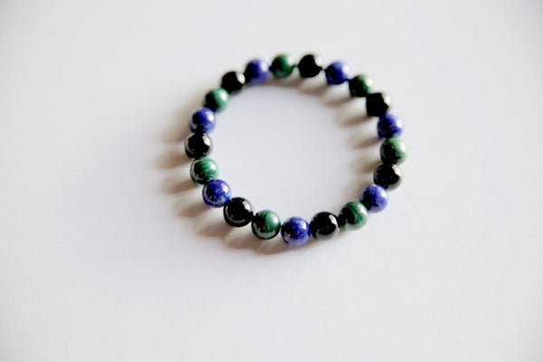 Genuine Black Onyx, Lapis Lazuli & Malachite Bracelet - A Peace of Mind Jewelry & Boutique