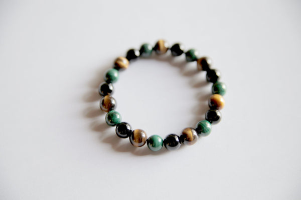 Genuine Black Onyx, Malachite & Tiger's Eye Bracelet ~ Balance and Focus - A Peace of Mind Jewelry & Boutique