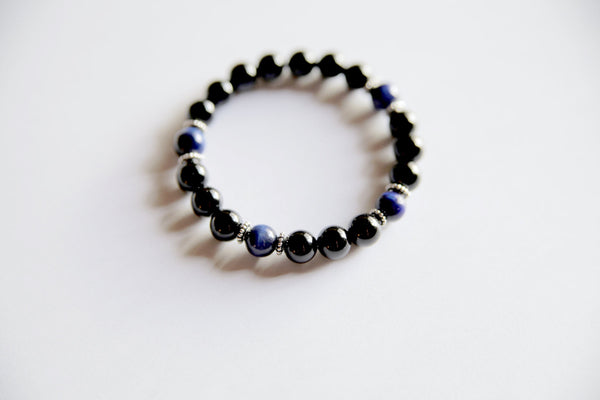 Genuine Black Onyx & Blue Tiger's Eye Bracelet w/ Sterling Silver Accents ~ Calm and Protection - A Peace of Mind Jewelry & Boutique