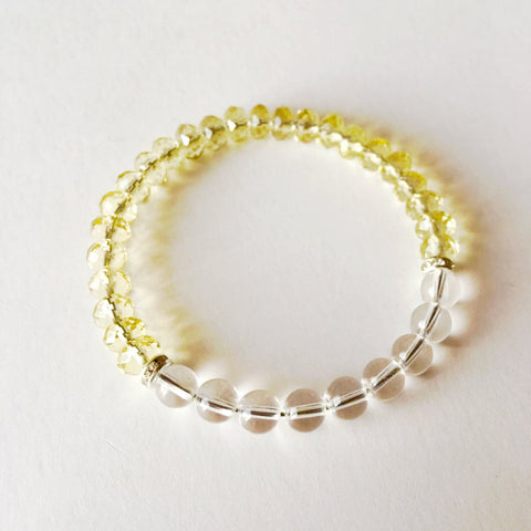 Clarity & Intention Bracelet ~ Citrine & Crystal Quartz - A Peace of Mind Jewelry & Boutique