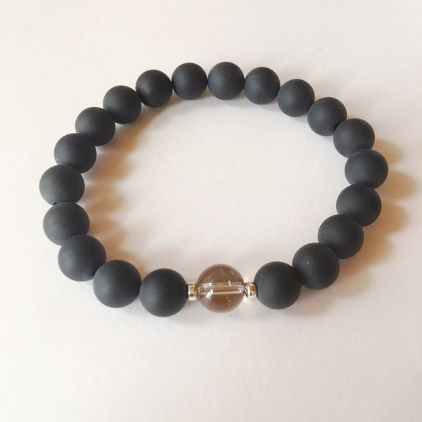 Genuine Matte Black Onyx & Smokey Quartz Bracelet - A Peace of Mind Jewelry & Boutique