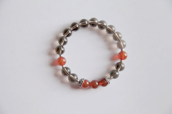 Healing of Depression ~ Genuine Smokey Quartz & Carnelian Bracelet w/ Sterling Silver Caps - A Peace of Mind Jewelry & Boutique