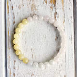 Manifest Creativity & Knowledge ~ Moonstone, Rose Quartz & Yellow Calcite Bracelet - A Peace of Mind Jewelry & Boutique
