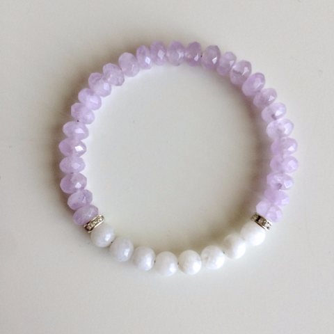 Peace of Mind ~ Moonstone & Faceted Cape Amethyst Bracelet - A Peace of Mind Jewelry & Boutique