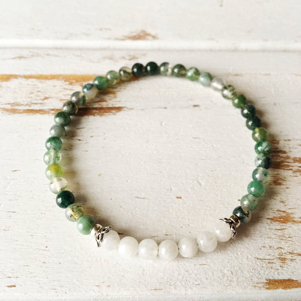 Emotional Balance & Self-Worth ~ Moss Agate and White Moonstone Bracelet - 4mm Stones - A Peace of Mind Jewelry & Boutique
