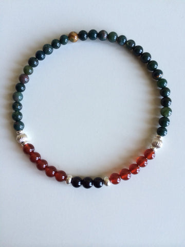 Energy & Grounding ~ Bloodstone, Carnelian & Black Tourmaline Bracelet - A Peace of Mind Jewelry & Boutique