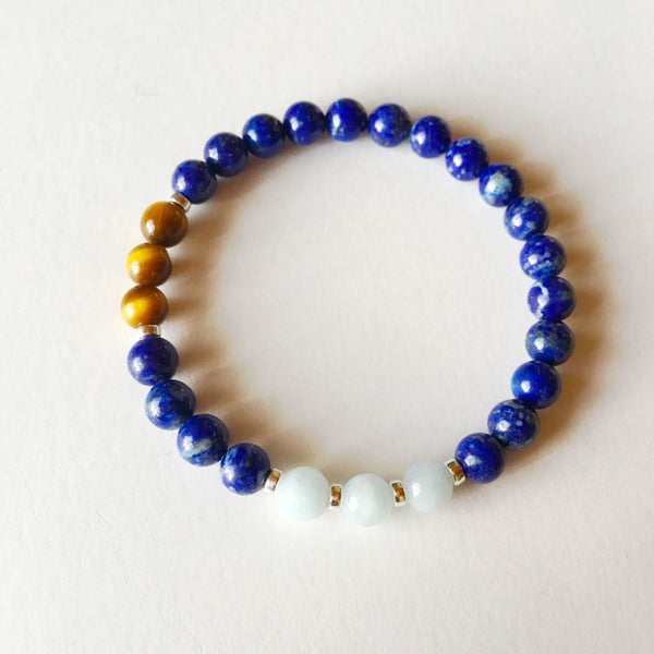 Protection & Insight Bracelet ~ Aquamarine, Lapis Lazuli & Tiger's Eye - A Peace of Mind Jewelry & Boutique