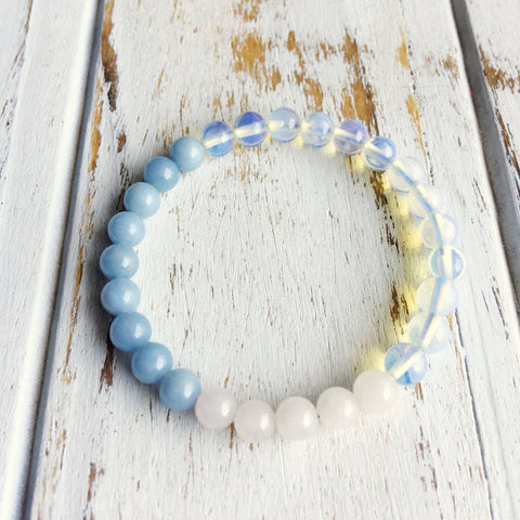 Give me the Strength to Love & Understand Others, Genuine Angelite, Opalite & Rose Quartz Bracelet - A Peace of Mind Jewelry & Boutique