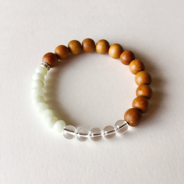 Good Fortune Intention Bracelet ~ Amazonite, Crystal Quartz & Sandalwood - A Peace of Mind Jewelry & Boutique