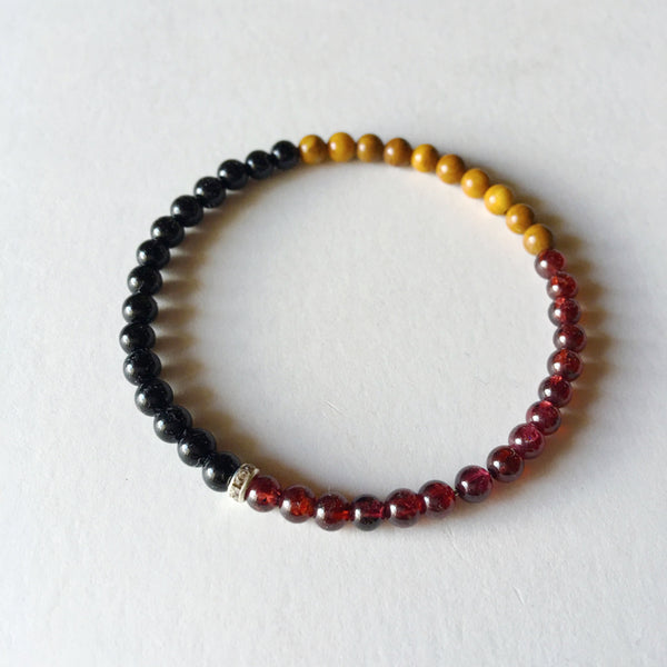 Power, Energy & Protection Bracelet ~ Black Onyx, Garnet & Yellow Jasper