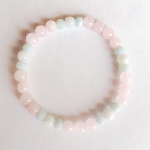 Guan Yin Bracelet ~ Amazonite, Rose Quartz & Moonstone - A Peace of Mind Jewelry & Boutique