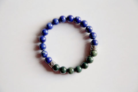 Healing Anxiety ~ Genuine Bloodstone & Lapis Lazuli Bracelet w/ Sterling Silver Charms - A Peace of Mind Jewelry & Boutique