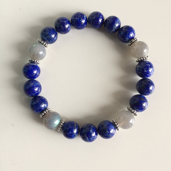 Healing Anxiety ~ Genuine Labradorite & Lapis Lazuli Bracelet w/ Sterling Silver Accents - A Peace of Mind Jewelry & Boutique