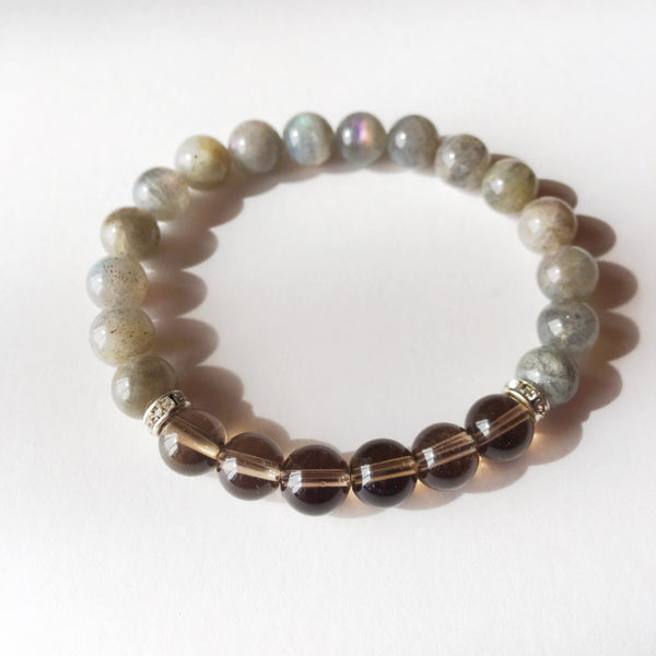 Healing Anxiety ~ Genuine Labradorite & Smokey Quartz Bracelet w/ Swarovski Crystal Spacers - A Peace of Mind Jewelry & Boutique