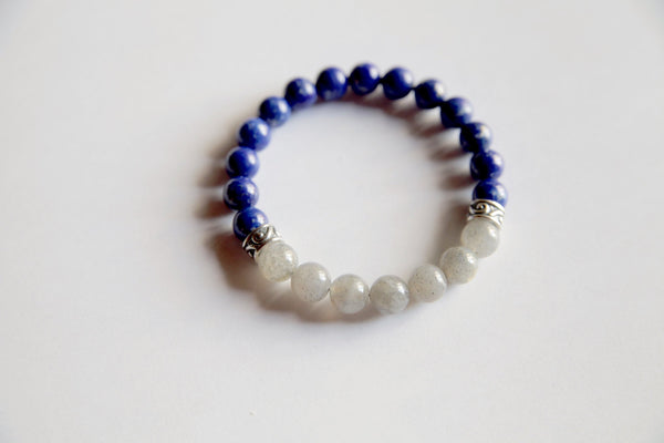 Healing Anxiety ~ Genuine Labradorite & Lapis Lazuli Bracelet w/ Sterling Silver Charms - A Peace of Mind Jewelry & Boutique