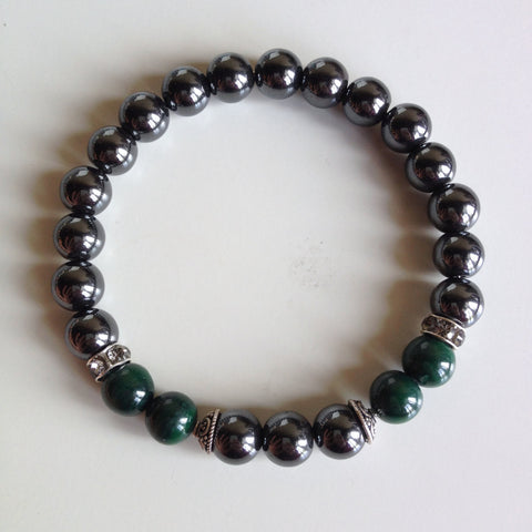 Healing Arthritis ~ Genuine Hematite & Malachite Bracelet w/ Sterling Silver Accents - A Peace of Mind Jewelry & Boutique