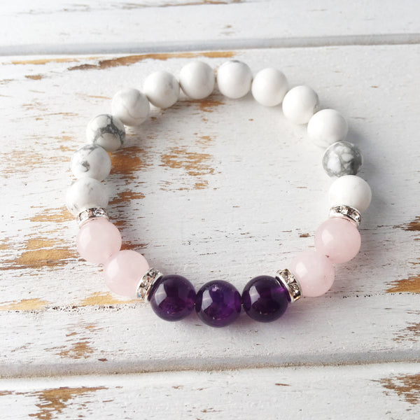 Help to Release Anger ~ Genuine Amethyst, Rose Quartz & White Howlite Bracelet - A Peace of Mind Jewelry & Boutique