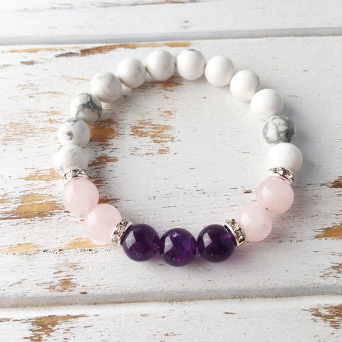 Help to Release Anger ~ Genuine Amethyst, Rose Quartz & White Howlite Bracelet