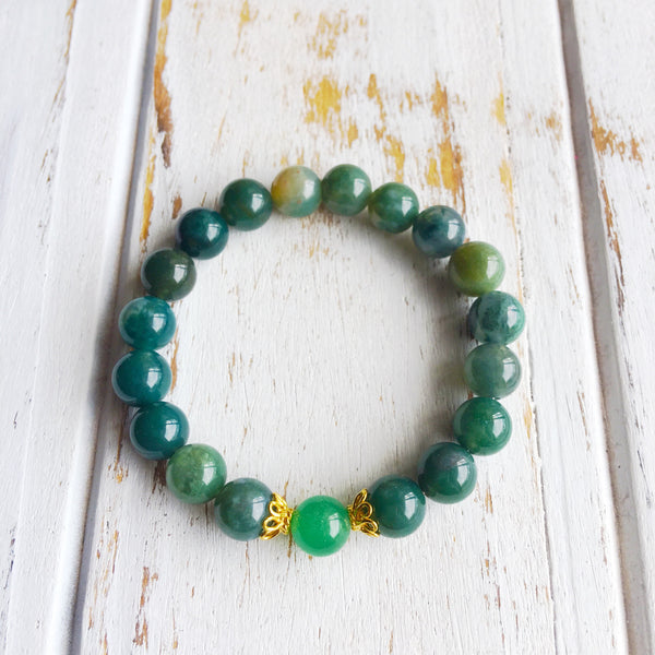I am Balanced and Opening Myself Up to Luck ~ Genuine Aventurine & Moss Agate Bracelet w/ Vermeil Accents - A Peace of Mind Jewelry & Boutique