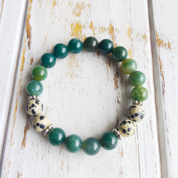 I am Balanced & Centered ~ Genuine Dalmatian Jasper & Moss Agate Bracelet w/ Sterling Silver Accents - A Peace of Mind Jewelry & Boutique