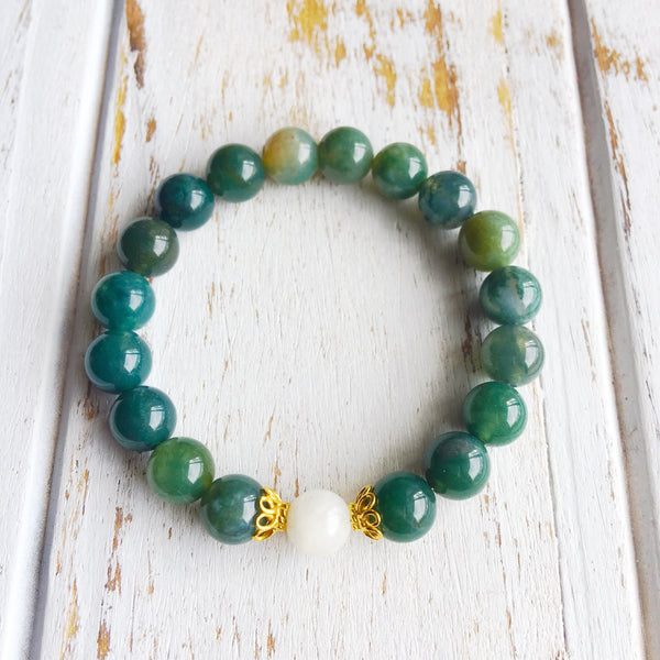 I am Balanced & In Tune with Myself ~ Genuine Moonstone & Moss Agate Bracelet w/ Vermeil Accents - A Peace of Mind Jewelry & Boutique