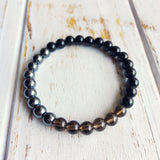 I Am Completely Grounded & Confident ~ Genuine Black Onyx, Hematite & Smokey Quartz Bracelet - A Peace of Mind Jewelry & Boutique