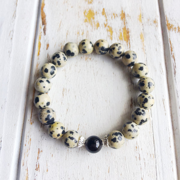 I Am Confident & Balanced ~ Genuine Dalmatian Jasper & Black Onyx Bracelet w/ Sterling Silver Accents - A Peace of Mind Jewelry & Boutique