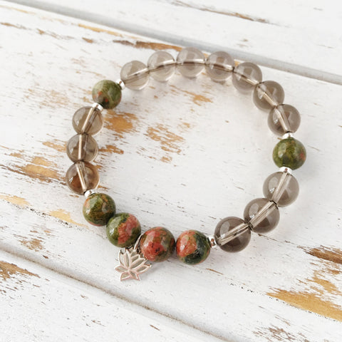 I Am Emotionally Balanced & Grounded Bracelet, Unakite and Smokey Quartz Bracelet