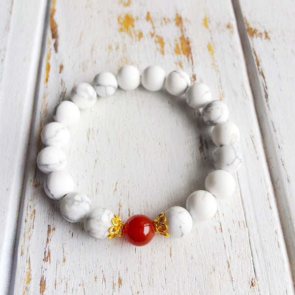 I Am Peaceful & Full of Energy ~ Genuine White Howlite & Carnelian Bracelet w/ Sterling Silver Accents - A Peace of Mind Jewelry & Boutique