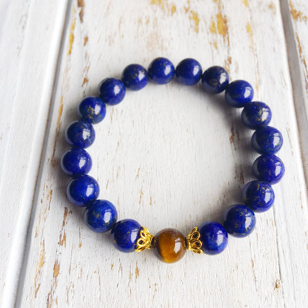 I Am Protected & Free From Stress ~ Genuine Tiger Eye & Lapis Lazuli Bracelet w/ Accents - A Peace of Mind Jewelry & Boutique