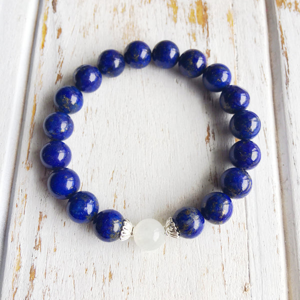 I Relieve Myself of Stress & Anxiety ~ Genuine Rainbow Moonstone & Lapis Lazuli Bracelet w/ Accents - A Peace of Mind Jewelry & Boutique
