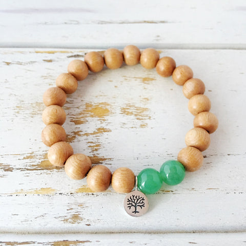 I Attract Abundance and Success Bracelet ~ Aventurine & Rosewood Bracelet - A Peace of Mind Jewelry & Boutique