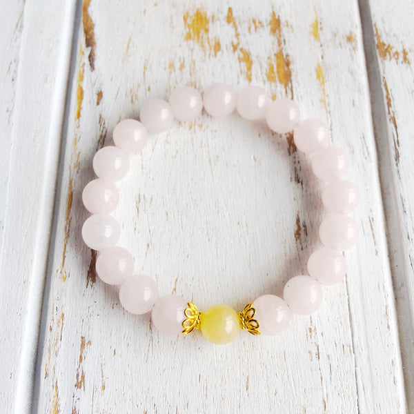 I Attract Love & Knowledge ~ Genuine Yellow Calcite & Rose Quartz Bracelet w/ Vermeil Accents - A Peace of Mind Jewelry & Boutique