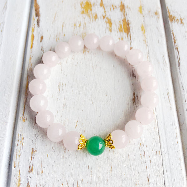 I Attract Love & Prosperity ~ Genuine Aventurine & Rose Quartz Bracelet w/ Vermeil Accents - A Peace of Mind Jewelry & Boutique