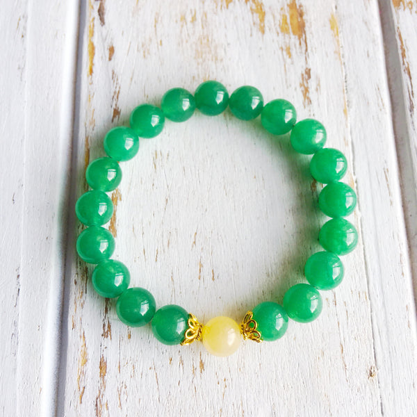 I Attract Luck & Prosperity ~ Genuine Aventurine & Yellow Calcite Bracelet w/ Vermeil Accents - A Peace of Mind Jewelry & Boutique