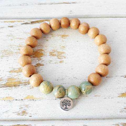 I Attract Peace Bracelet, Aqua Terra Jasper & Rosewood Bracelet, Tree of Life - A Peace of Mind Jewelry & Boutique
