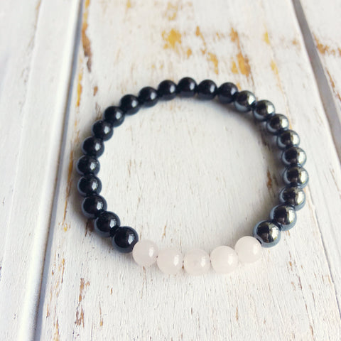 I Do Not Fear Your Negativity - I've Got Love & Confidence, Genuine Black Onyx, Hematite & Rose Quartz Bracelet