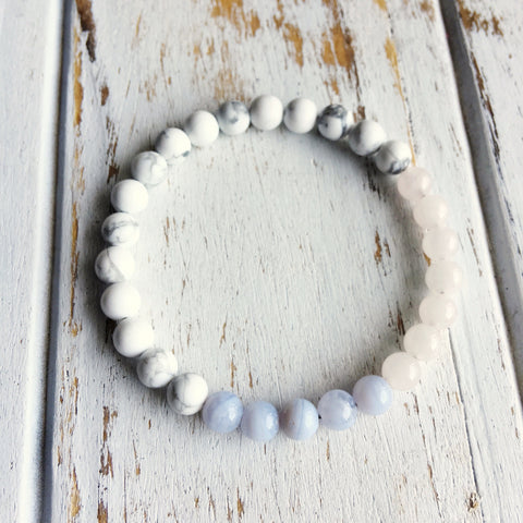 I Express my Creativity with Love & Compassion ~ Rose Quartz, Blue Lace Agate & White Howlite Bracelet