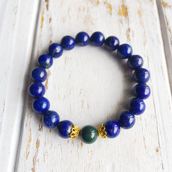 I Relieve Myself of Stress & Anxiety ~ Genuine Bloodstone & Lapis Lazuli Bracelet w/ Accents - A Peace of Mind Jewelry & Boutique
