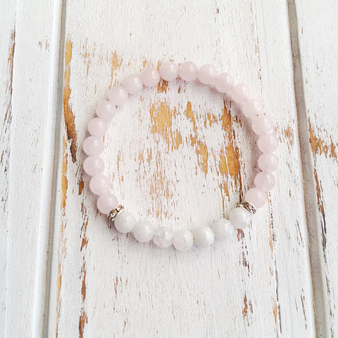 Love & Positivity ~ Moonstone & Rose Quartz Bracelet - A Peace of Mind Jewelry & Boutique