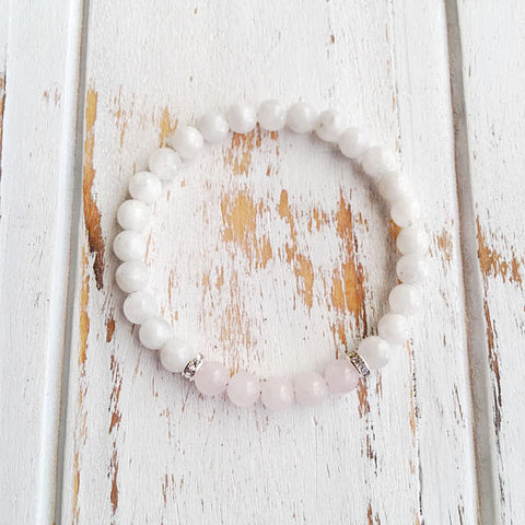 Love & Positivity ~ Rose Quartz & Moonstone Bracelet - A Peace of Mind Jewelry & Boutique