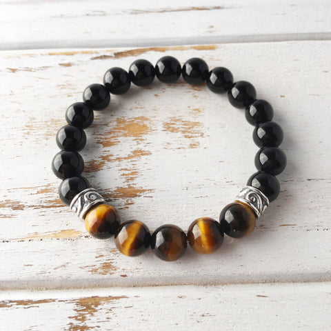 Complete Focus - Tiger's Eye & Black Onyx Bracelet - A Peace of Mind Jewelry & Boutique