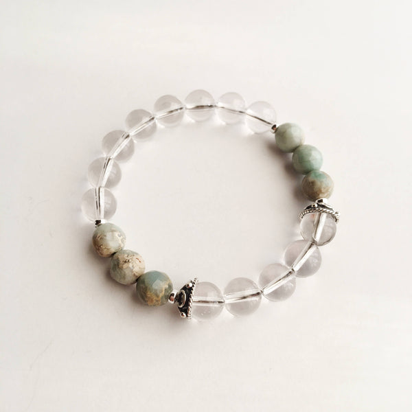 Tranquility - Crystal Quartz & Aqua Terra Jasper Bracelet - A Peace of Mind Jewelry & Boutique